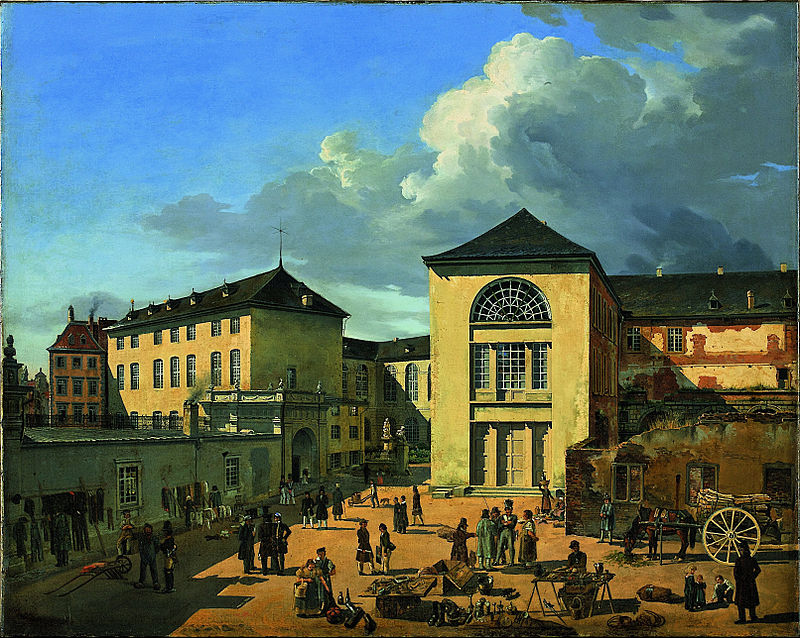 800px Andreas Achenbach The Academy Courtyard The Old Academy in Dusseldorf Google Art Project
