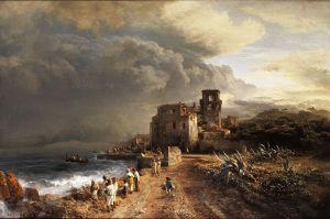 800px Oswald Achenbach Verschattete Landschaft am Meer mit Figurenstaffage
