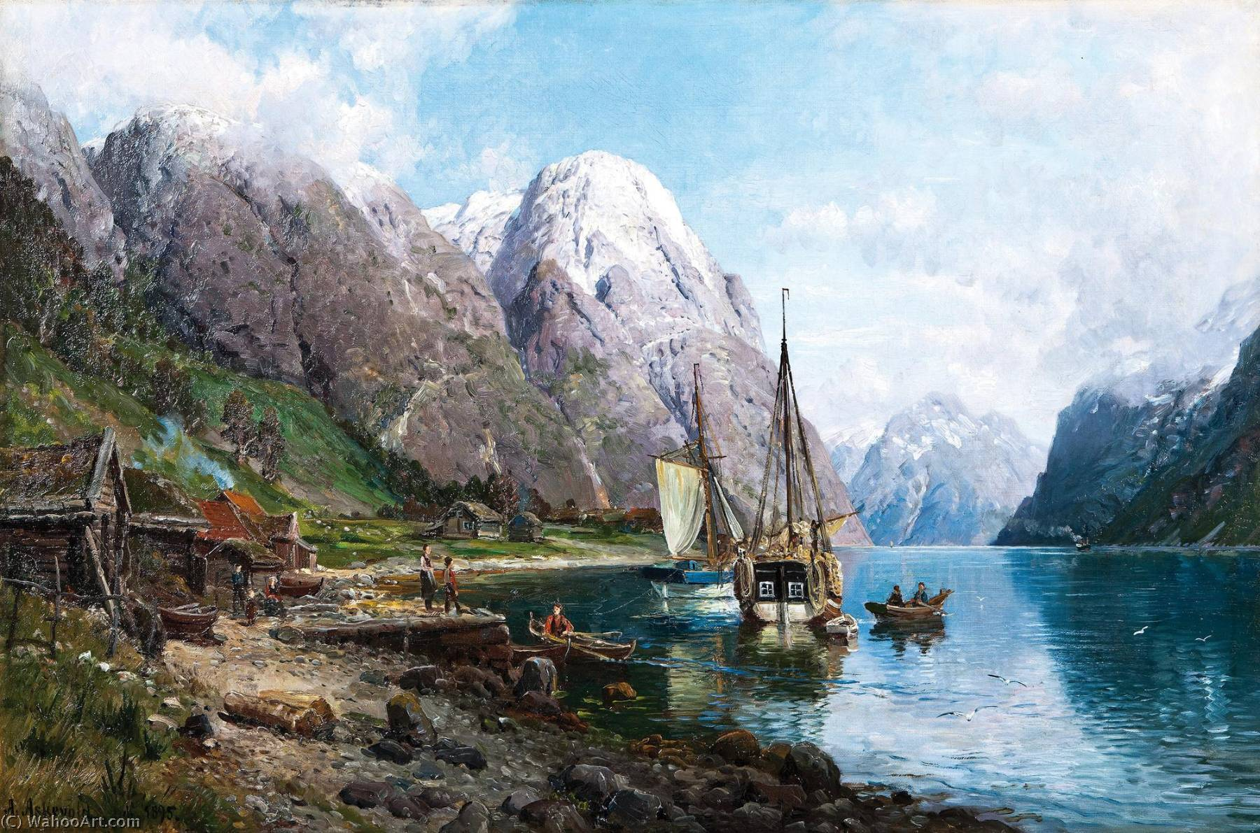 Anders Monsen Askevold Harbor in the Sognefjord also known as From a Harbor in the Sognefjord