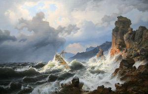 MK 17354 Andreas Achenbach Ein Seesturm an der norwegischen Kuste