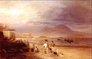 fishermen with the bay of naples and vesuvius beyond by oswald achenbach 1877