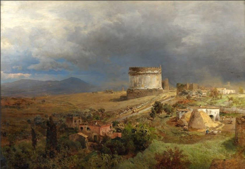 via appia with the tomb of caecilia by oswald achenbach