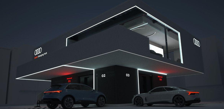 Os centros de carregamento do conceito da Audi incluem uma área de lounge premium