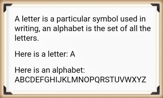 the difference between a letter and an alphabet