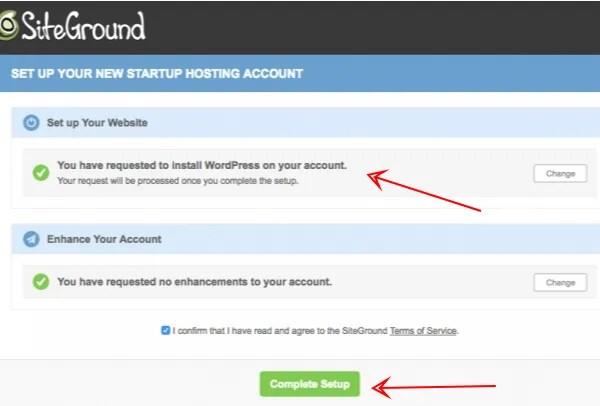 WordPress comeplet setup - Siteground setup wizard -smart entrepreneur blog