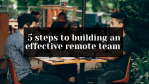 team of young remote workers in cafe drinking coffee, discussing and build an effective remote team