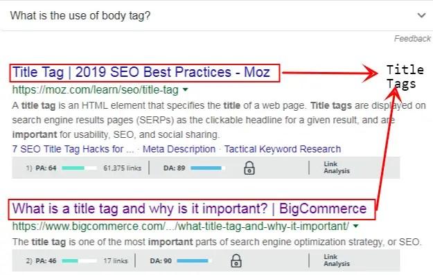 Title tags in SEO in a nutshell - digital marketing