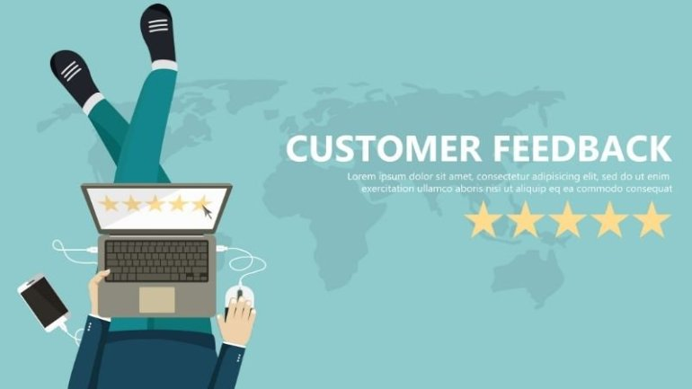 7 reasons your business website needs customer review page - flat vector graphics of a open laptop