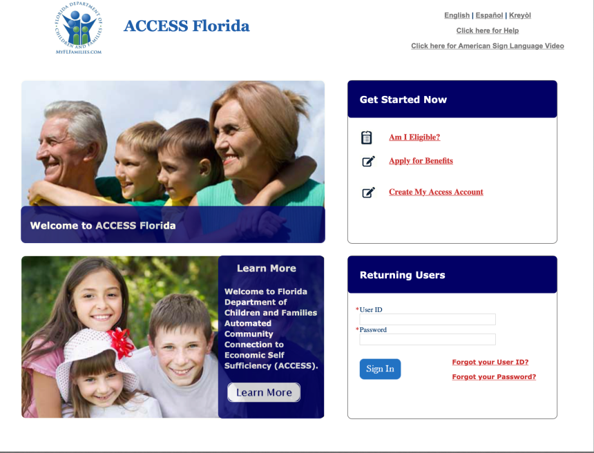 Florida ACCESS Account Login