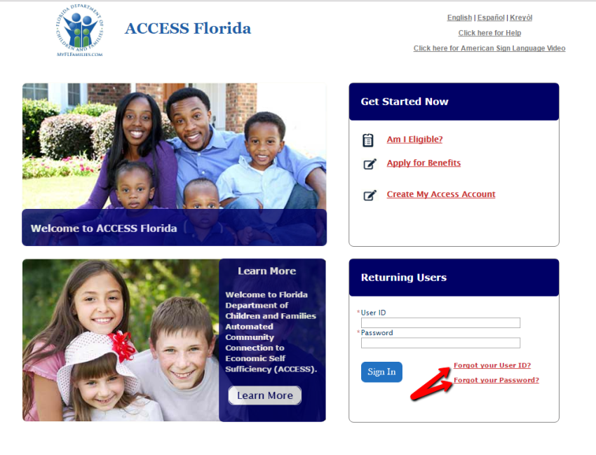 MyAccess Florida User ID Reset
