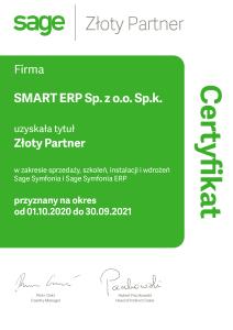 Certyfikat 21 Smart ERP Złoty Partner Sage
