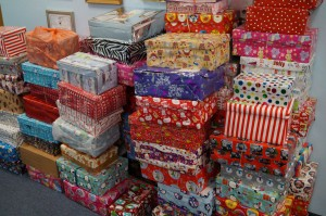 Just a few of the shoeboxes donated for Operation Christmas Child.