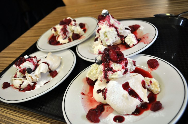The meringue and summer fruit coulis was a big hit following Friday's ambitious Mexican themed main course.