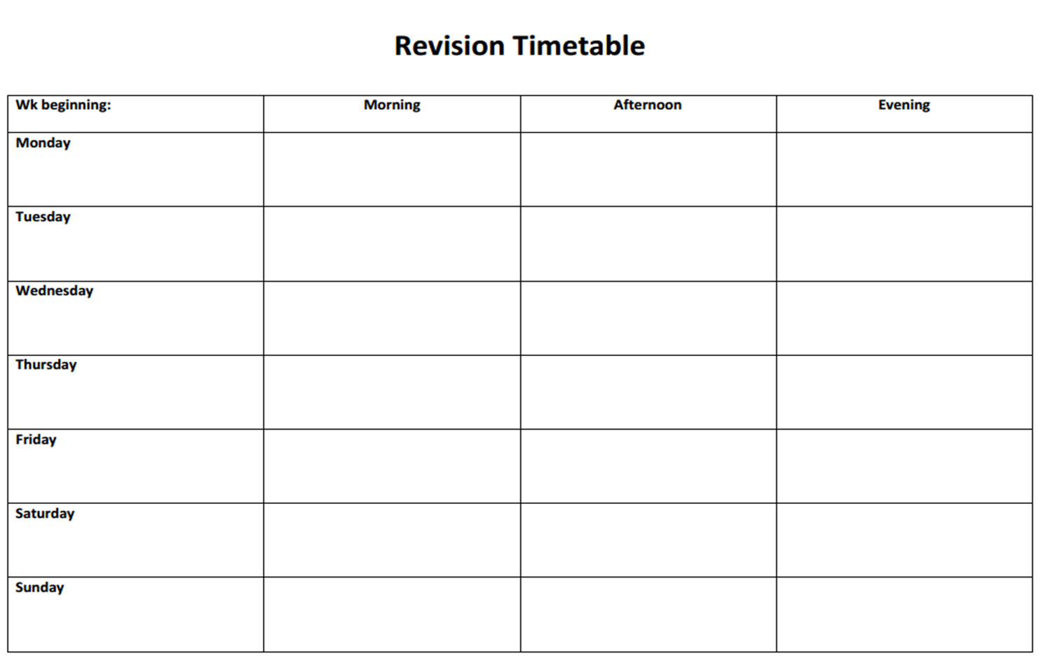 Revision Timetables