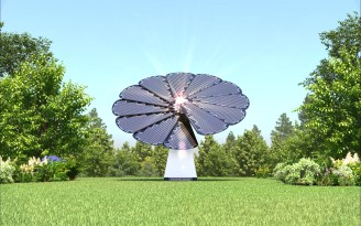 Smartflower, AKA. Solar sunflower on the lawn