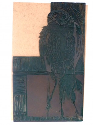 Bird Of Prey With Kill Linocut