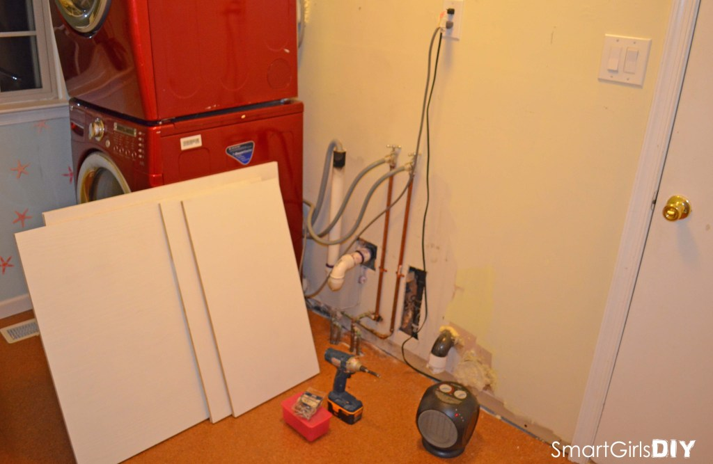 Laundry Room Makeover - Building a custom surround for stacked washer dryer red how to remodel cork floor