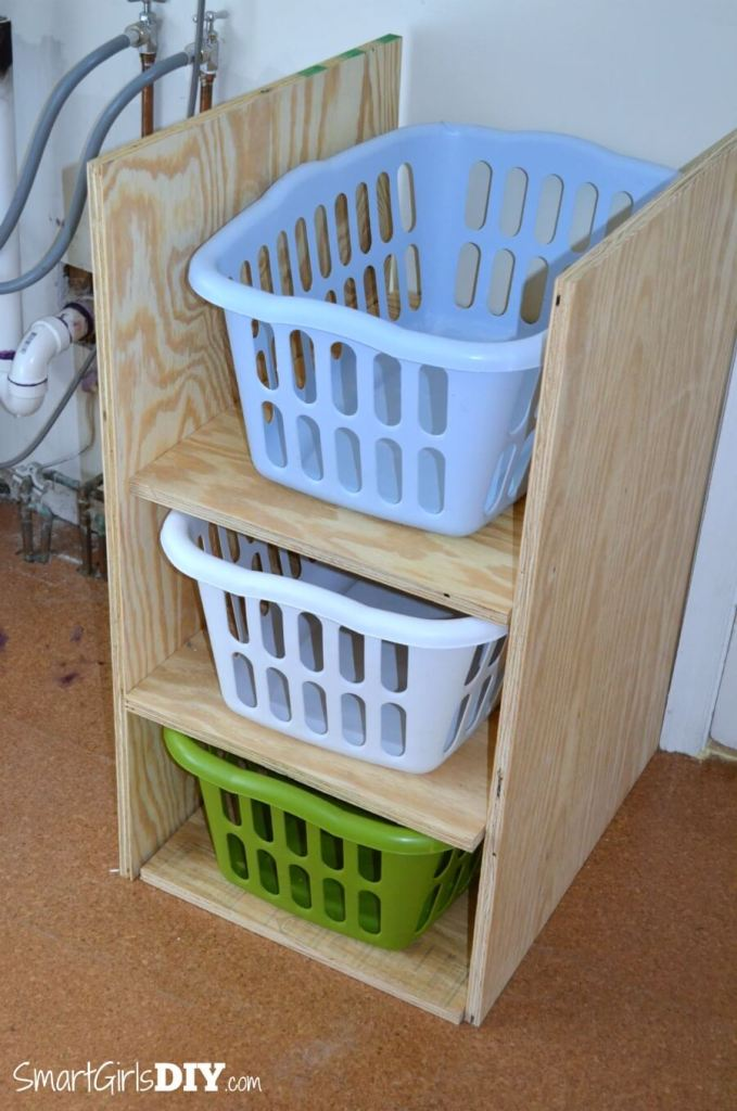 Before building the laundry basket shelf make sure your dimension work for your baskets