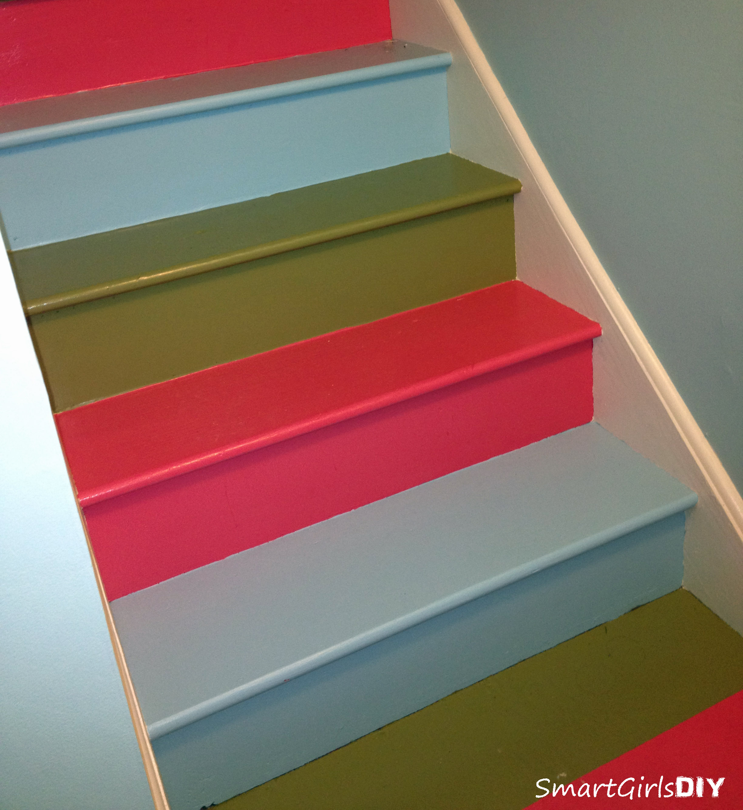 Awesome Rainbow Painted Basement Stair Makeover ...