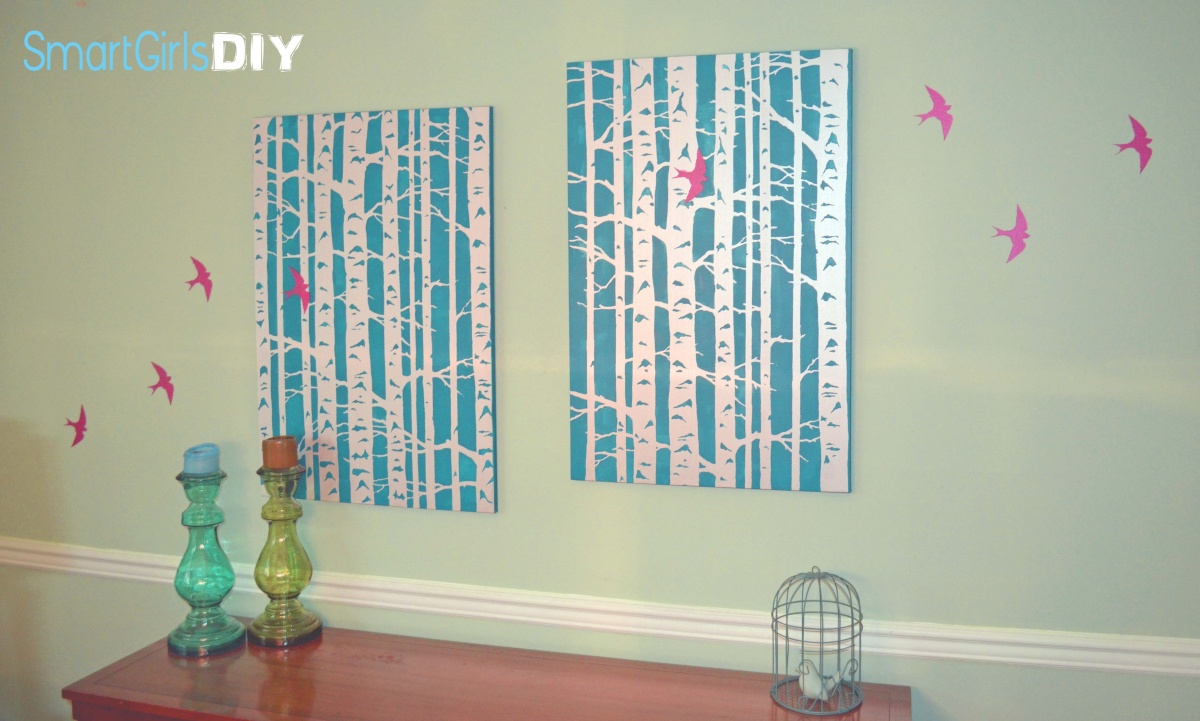 Smart Girls DIY- bird and birch wall art