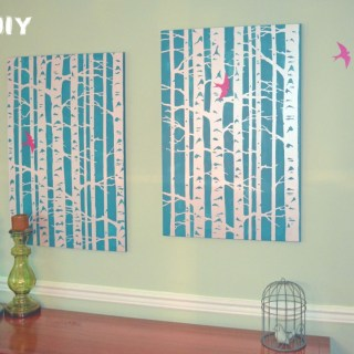 Bird and Birch Stencil Wall Art