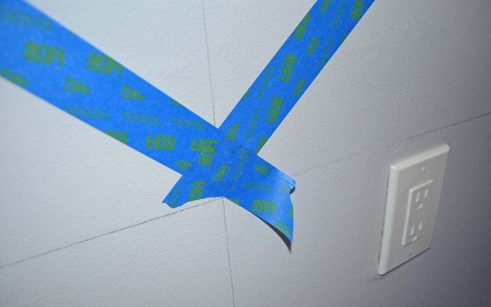 Overlapping tape at corners Smart Girls DIY blog chevron