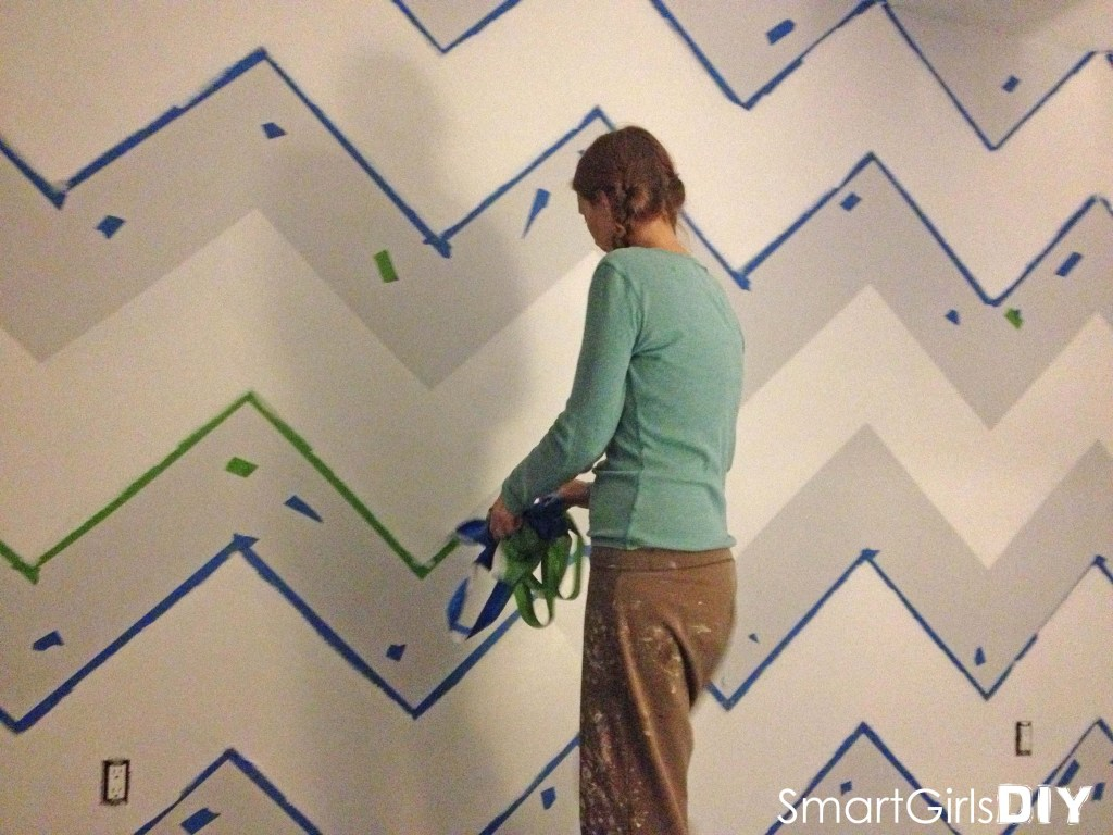 Removing tape from chevron wall