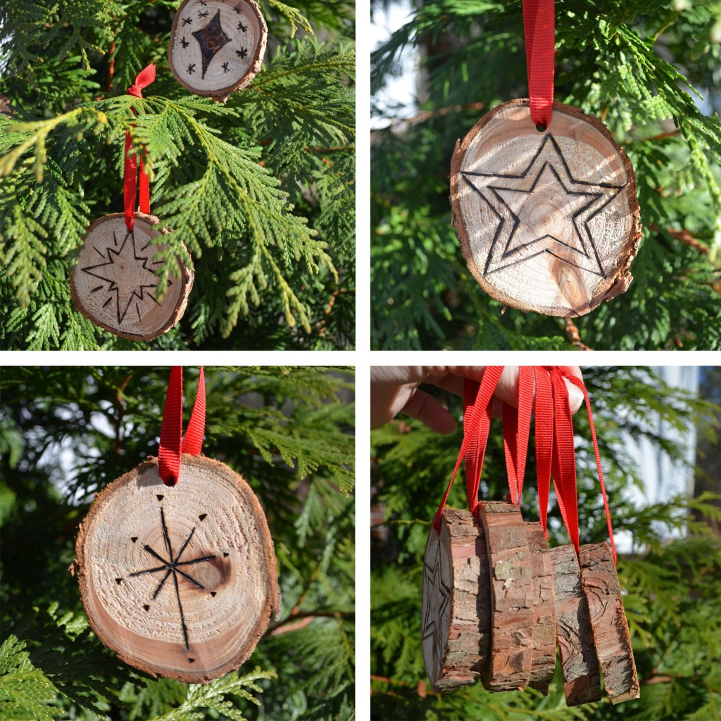 Wood Burned Star Ornaments
