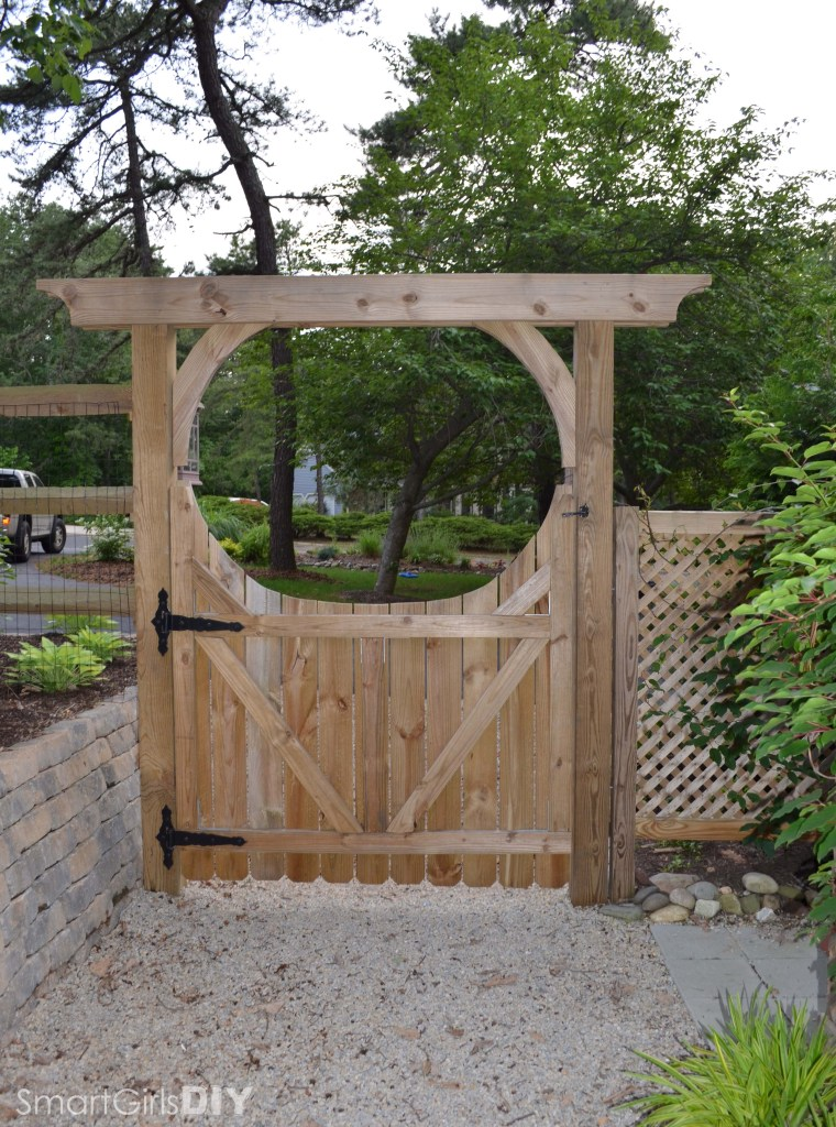 Rear view of DIY garden arbor and gate