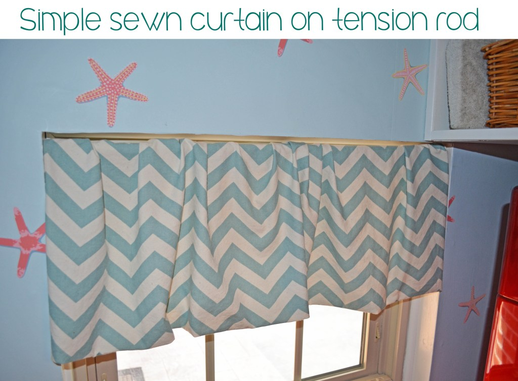Simple sewn chevron curtain on tension rod