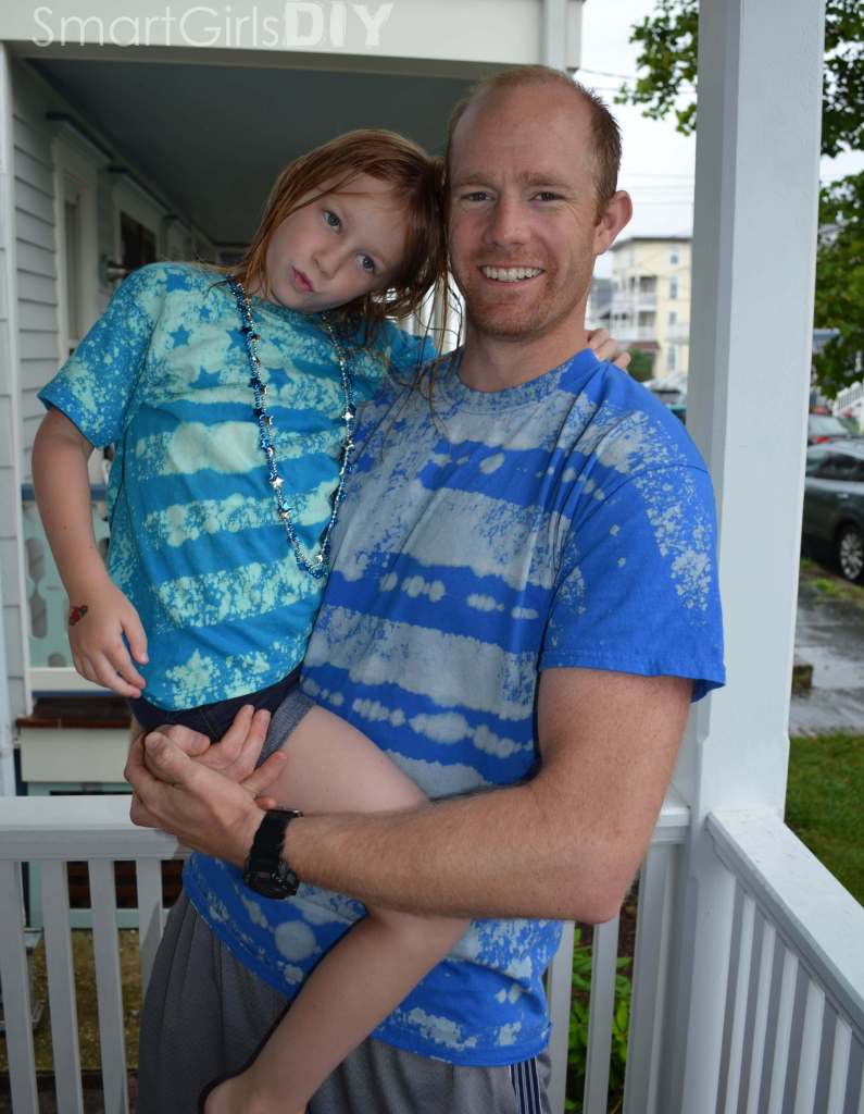 DIY bleached Amerian flag tshirts