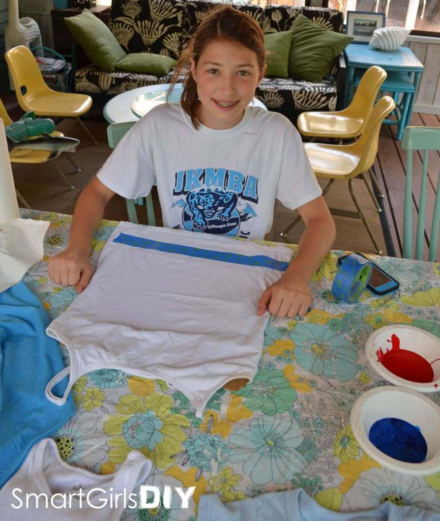 Smart Jr making an American Flag t-shirt