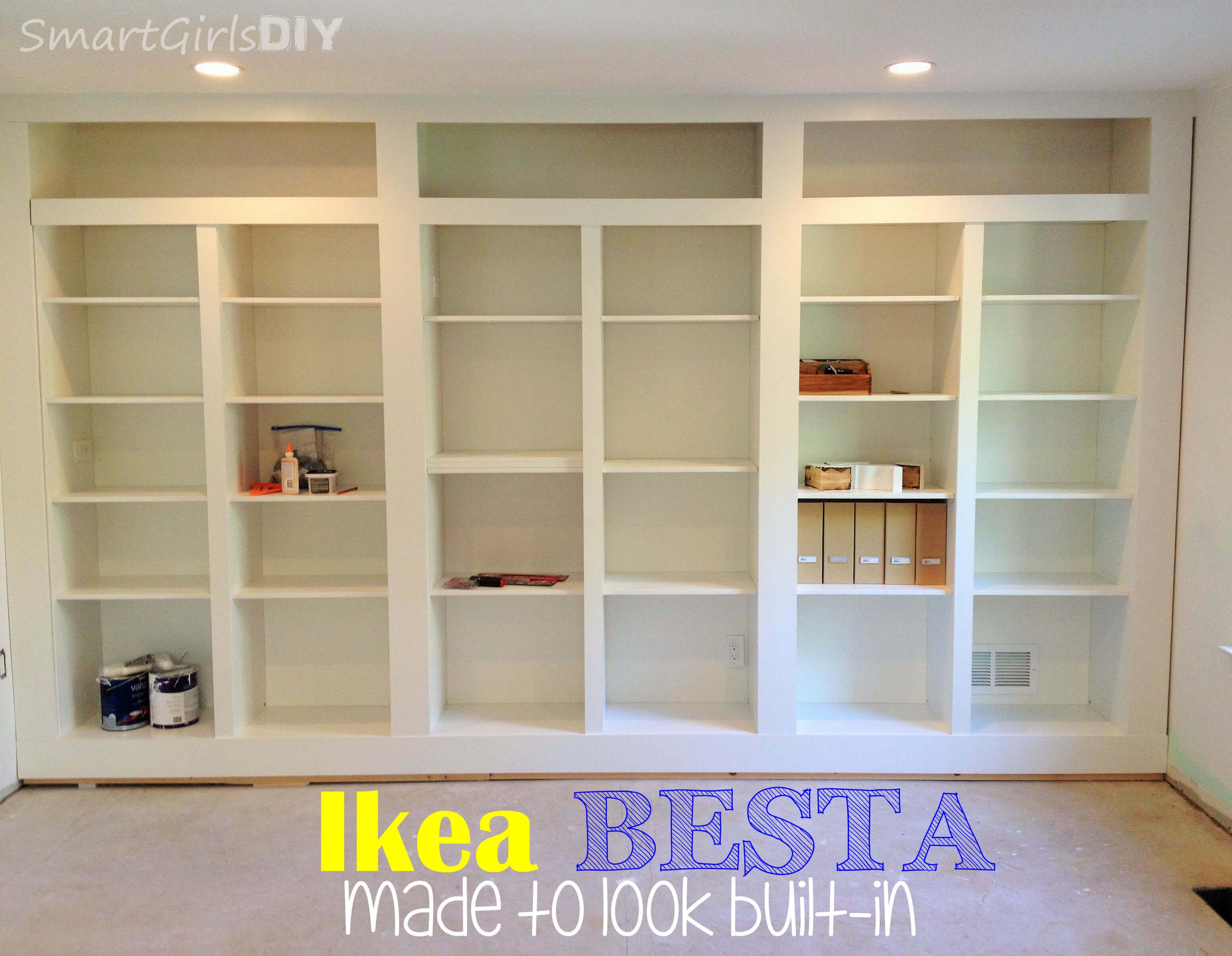 DIY Built In Bookshelves Using Ikea BESTA (Family Room 8)