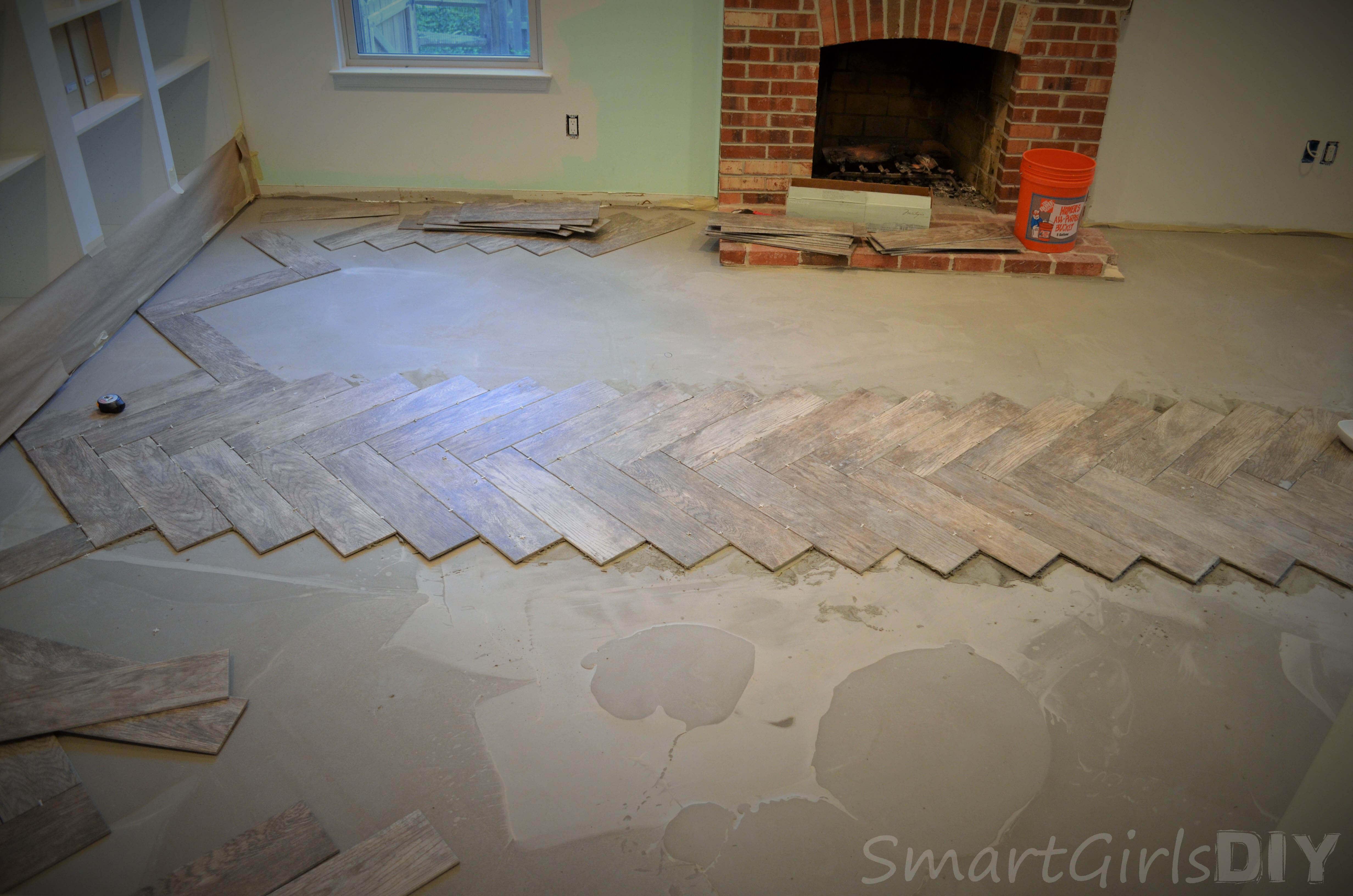Diy Tile Floor image credit mary wiseman design First Row Of Herringbone Tile Finished