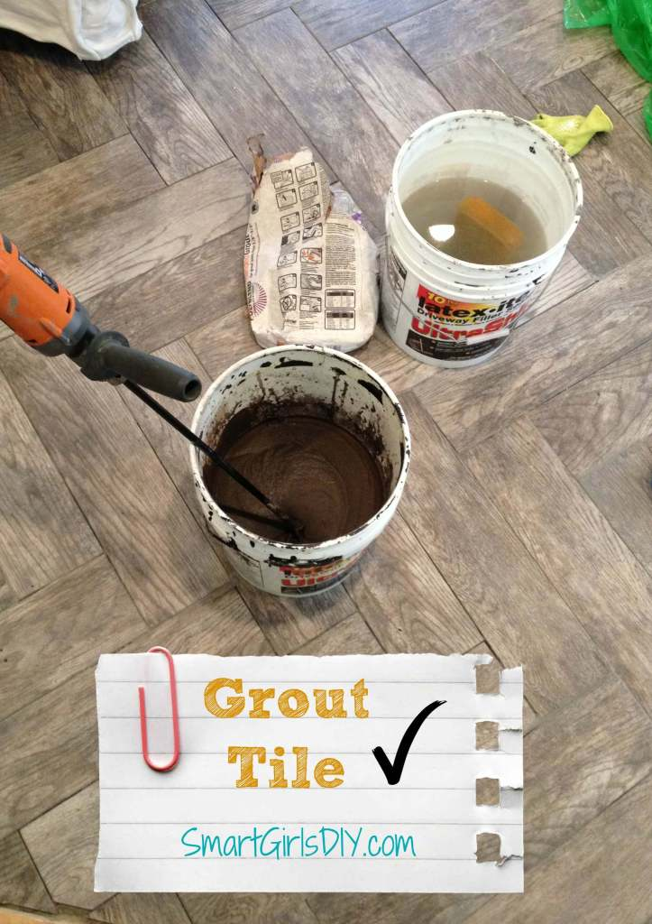 Mixing up grout to use on my DIY chevron tile floor