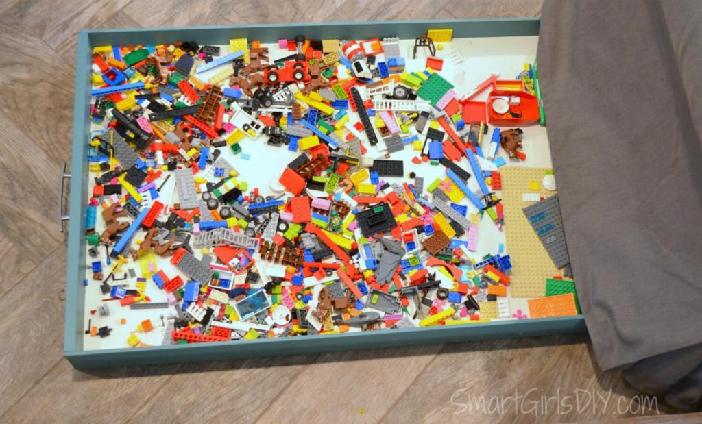 Lego storage ideas - hidden under sofa