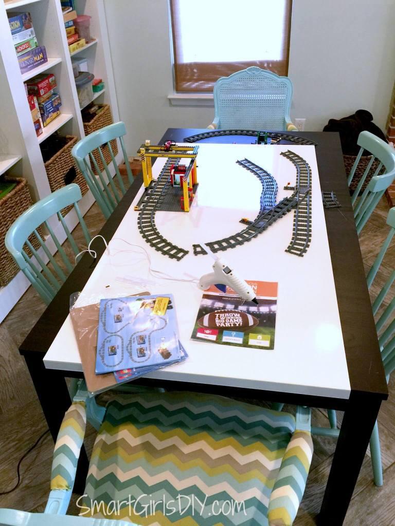 Using hot glue on Lego train tracks