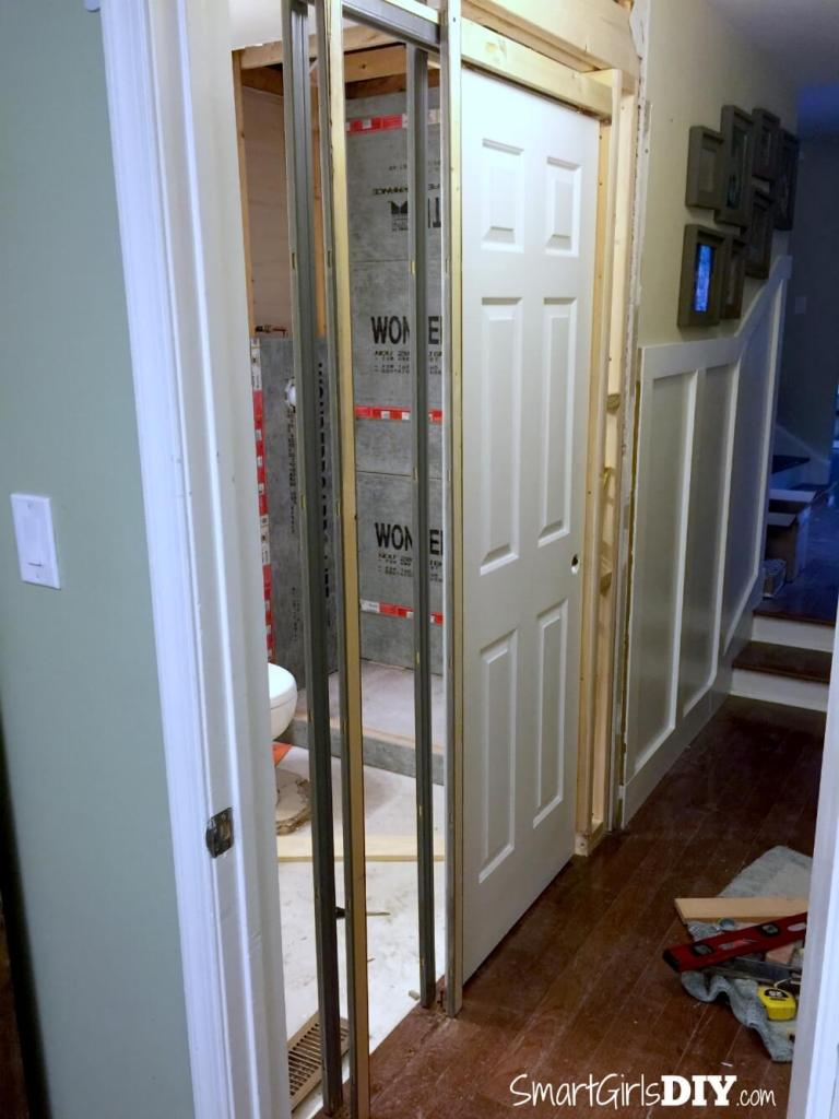 Installing a pocket door -- DIY tutorial on Smart Girls DIY
