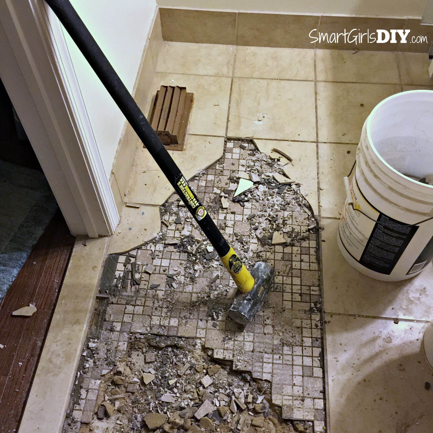 Guest bathroom 7 diy hex tile floor removing two layers of tile with a sledge hammer dailygadgetfo Image collections