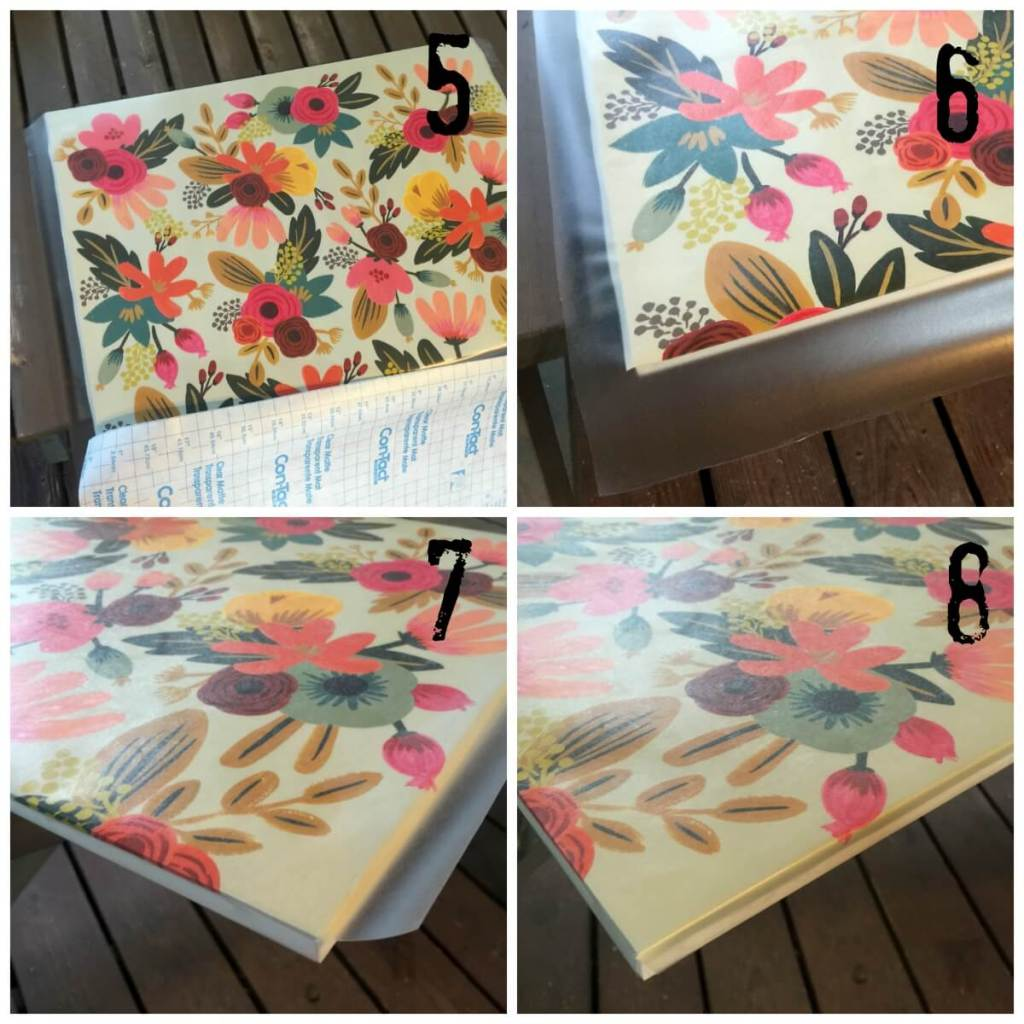 Contact paper over cute gift wrap - DIY drawer liner