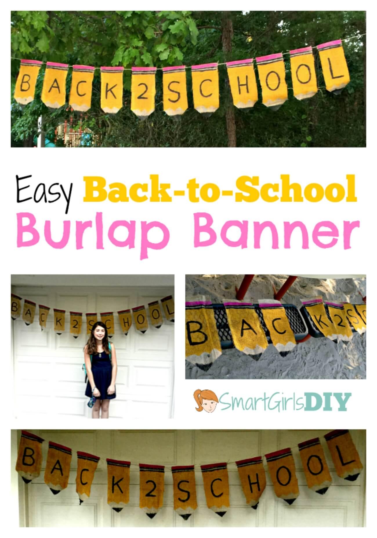 Easy Back-to-School Burlap Banner -- Smart Girls DIY