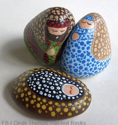 Unique Nativity Set Painted on Rocks
