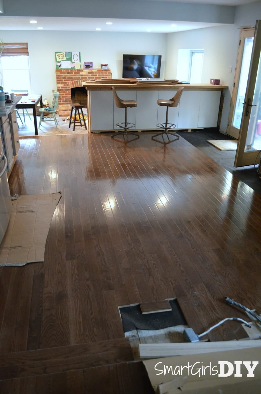DIY hardwood floor installed in kitchen