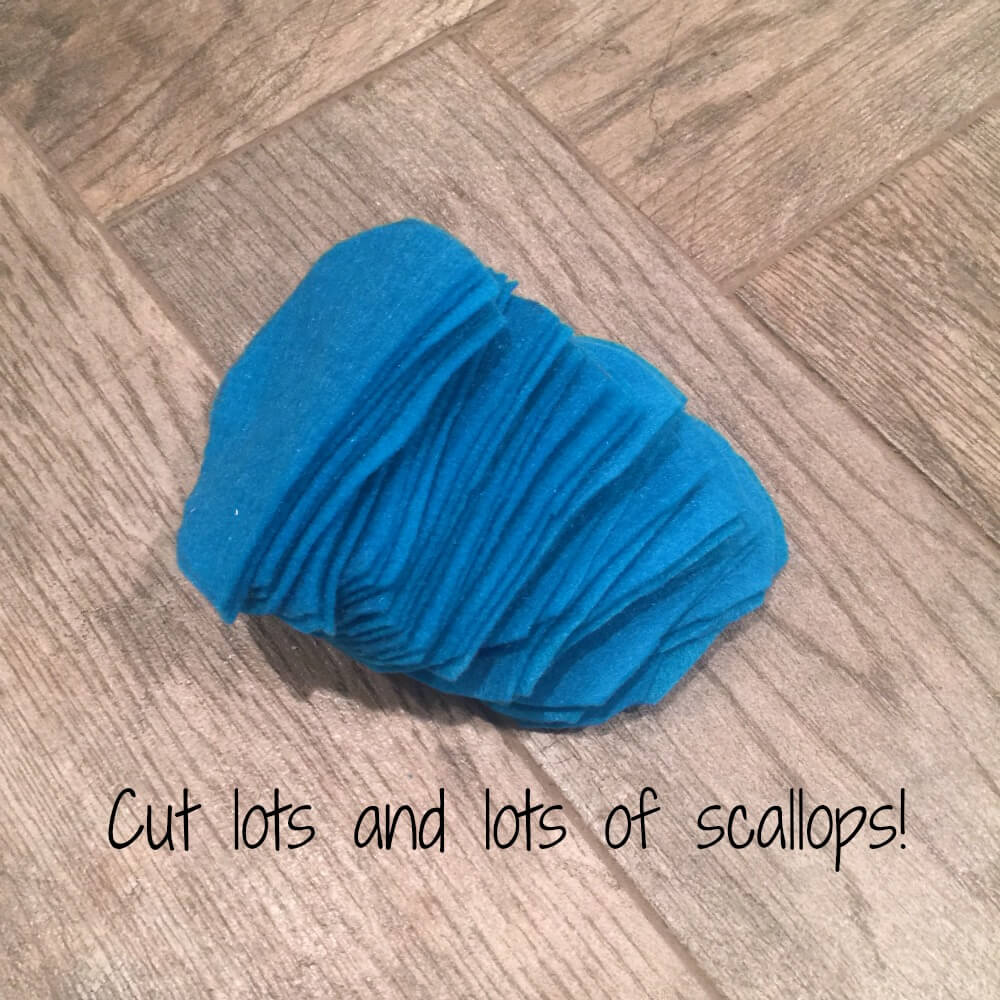 Cut lots of felt scallops