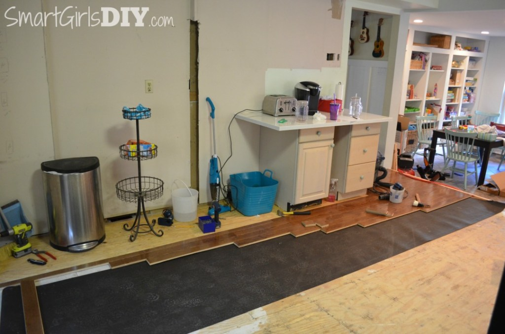 Installing hardwood flooring in kitchen