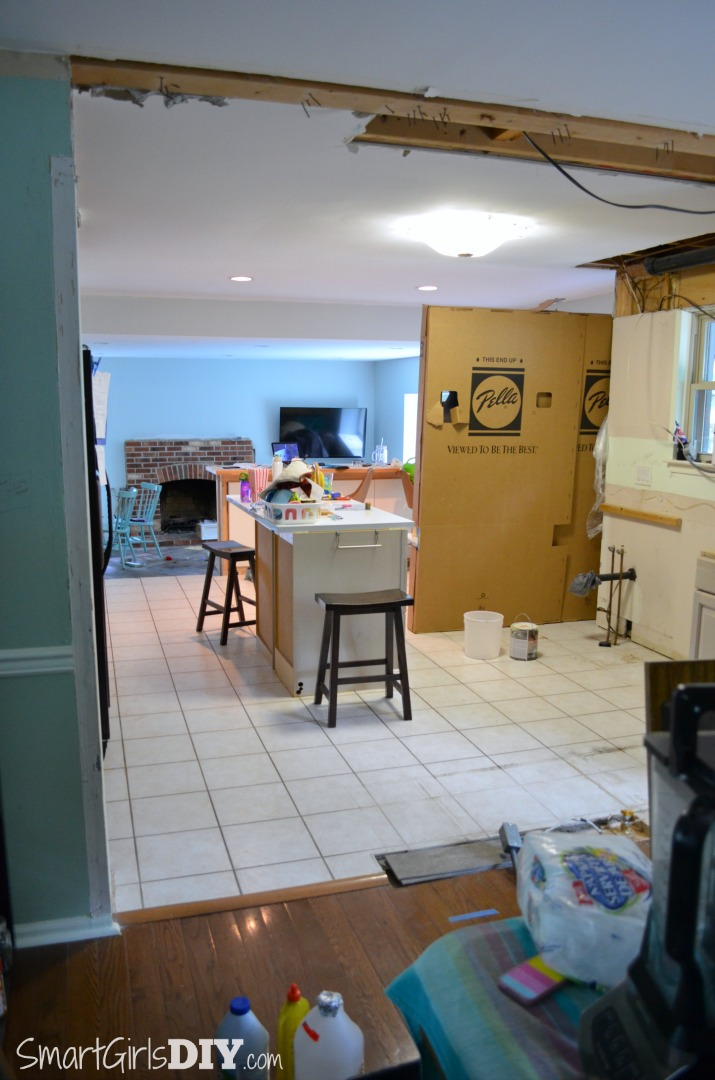 Wall torn down between kitchen and dining room