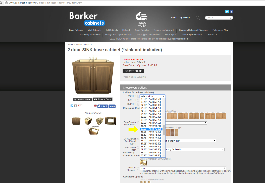 ... Sink Base Cabinet Width Selection Barker Cabinets