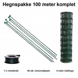 100 Meter Havehegn Inkl. 40 Stk. Tentorpæle Og 60 Meter Bindetråd - Maskestr. 10x10 Cm H:90 Cm