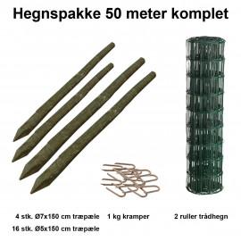 50 Meter Havehegn Inkl. 20 Stk. Træpæle Og 1 Kg Kramper - Maskestr. 5x10 Cm H:80 Cm