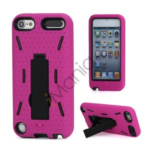 Rugged Robot Style Plastic and Silikone Combo Taske med Holder til iPod Touch 5 - Sort / Rose